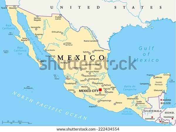 Meksiko Poliittinen Kartta Paakaupunki Mexico City Arkistovektori