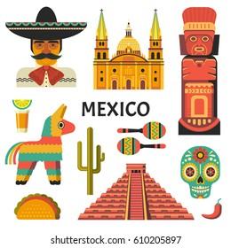Mexico poster. Vector icons collection of Mexican culture and food, including maracas, Sugar skull, Mayan pyramid, portrait of mariachi, taco and pinata in trendy flat style. Isolated on white.