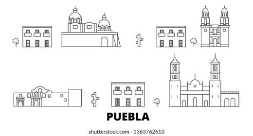 Mexico, Puebla line travel skyline set. Mexico, Puebla outline city vector illustration, symbol, travel sights, landmarks.