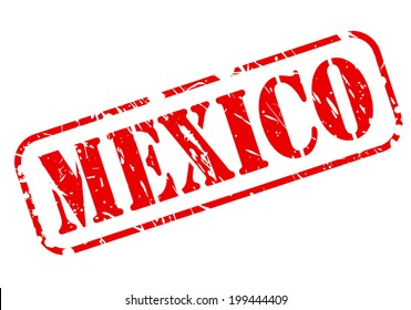 MEXICO red stamp text on white background