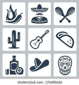 Mexico related vector icon set
