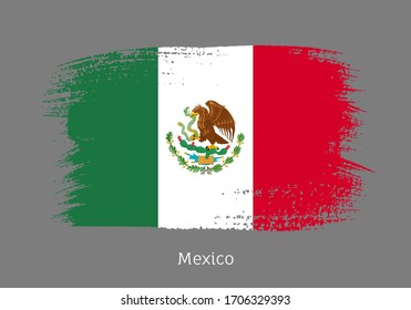 Mexico republic official flag in shape of paintbrush stroke. Country national identity symbol for patriotic design. Grunge brush blot isolated vector illustration. Mexican nationality sign.