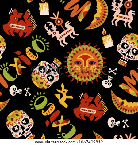 Mexico Seamless Pattern Mexican Culture Symbols Stock Vector
