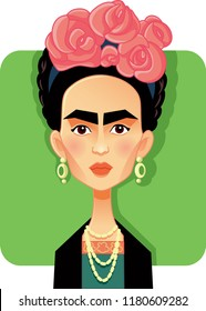 Mexico, Mexico, September 15 2018, Frida Kahlo Vector Caricature
