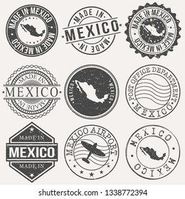 Mexico Set of Stamps. Travel Stamp. Made In Product. Design Seals Old Style Insignia.