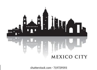 Mexico Skyline Silhouette Skyline  Vector City Design