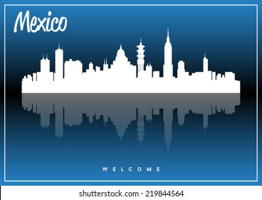 Mexico, skyline silhouette vector design on parliament blue background.