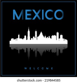 Mexico, skyline silhouette vector design on black background.