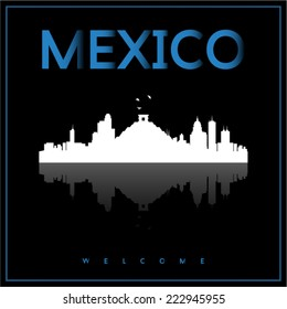 Mexico, skyline silhouette vector design on parliament blue and black background.
