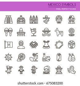 Mexico Symbols , Thin Line and Pixel Perfect Icons