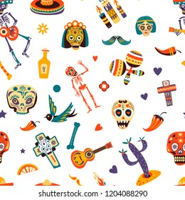 Mexico traditional elements, Mexican symbols and signs seamless pattern