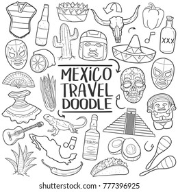 Mexico Travel Elements Traditional Doodle Icons Sketch Hand Made Design Vector