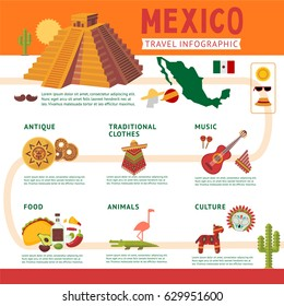 Mexico travel infographic concept with traditional music food cultural antique elements animals and clothes vector illustration