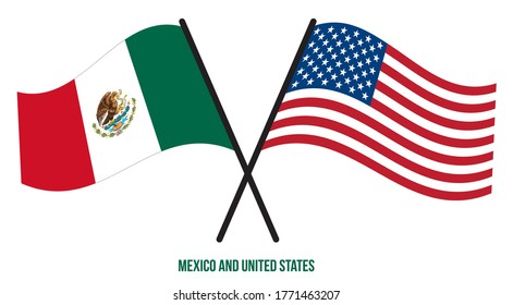 Mexico and United States Flags Crossed And Waving Flat Style. Official Proportion. Correct Colors.
