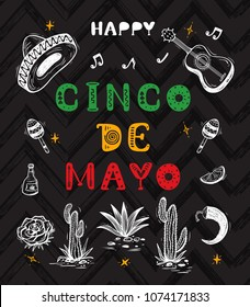 Mexico vector background. Happy Cinco de Mayo greeting card with hand drawn lettering and sketch of Mexican culture attributes