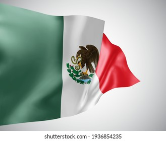 Mexico, vector flag with waves and bends waving in the wind on a white background.