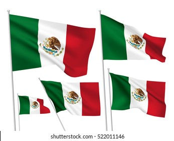 Mexico vector flags set. 5 wavy 3D cloth pennants fluttering on the wind. EPS 8 created using gradient meshes isolated on white background. Five fabric flagstaff design elements from world collection