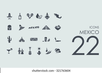 Mexico vector set of modern simple icons