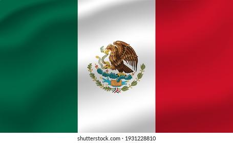 Mexico waving flag vector editable