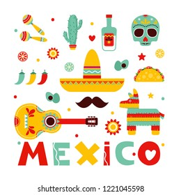 Mexico.Colorful stylish vector illustration set Mexico. Set with symbols of Mexico Mexican guitar, mustache, tequila, pepper, skull, Mexican maracas, pinata, tacos.Original illustration and design.