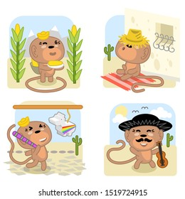 Mexico-themed set of four cute monkeys with corn, on adobe porch, hitting a pinata, wearing sombrero and holding guitar (kawaii style illustration)
