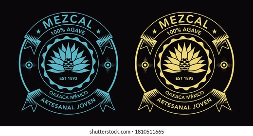 """Mezcal spirit label, Oaxaca flavor. Meaning """"Young hancrafted"""""""