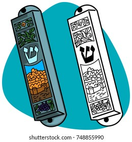 Mezuzah with the Hebrew symbols. Black and white and Silver mezuzah case with color enamel decoration. Isolated on blue background.