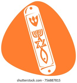 Mezuzah with the Hebrew symbols. Hebrew letter Shin, the Star of David, Menorah, fish. Isolated on orange background.