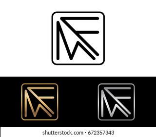 MF initial box shape Logo designs template