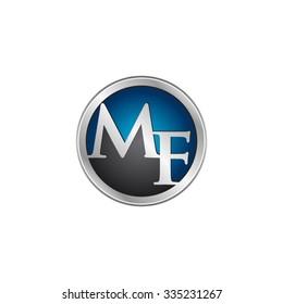 MF initial circle logo blue