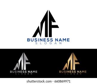 MF initial letters linked triangle shape logo