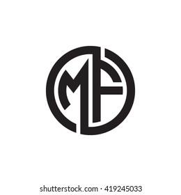 MF initial letters looping linked circle monogram logo