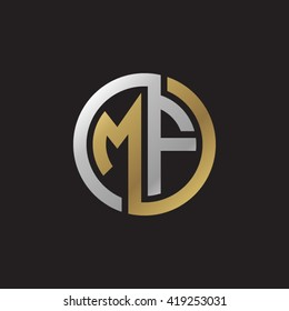 MF initial letters looping linked circle elegant logo golden silver black background