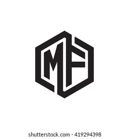 MF initial letters looping linked hexagon monogram logo