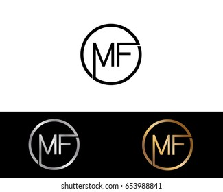 Mf Logo. Letter Design Vector with Red and Black Silver, Gold Colors