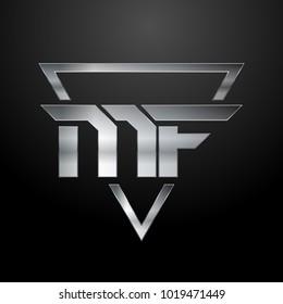 MF Logo, Metal Logo, Silver Logo, Monogram, Polygon