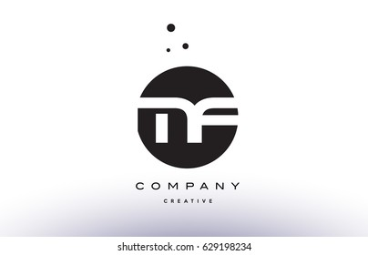 MF M F alphabet company letter logo design vector icon template simple black white circle dot dots creative abstract