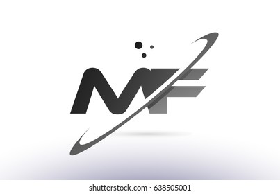 mf m f alphabet letter logo black white grey swoosh creative text dots company vector icon design template