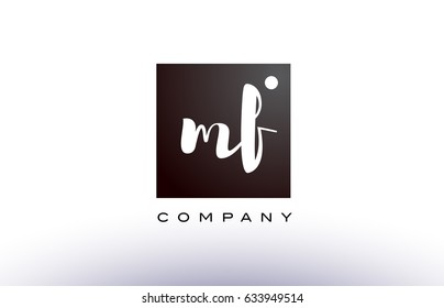 MF M F black white handwritten handwriting alphabet company letter logo square design template dot dots creative abstract