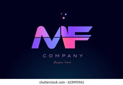 mf m f creative color blue background pink purple blue magenta alphabet letter company logo vector icon design