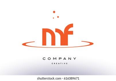 MF M F creative orange swoosh dots alphabet company letter logo design vector icon template