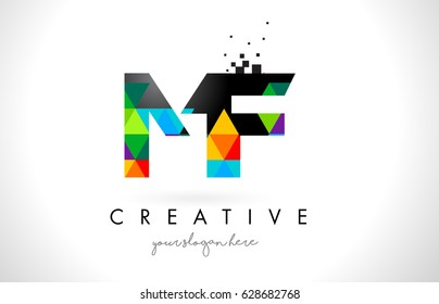 MF M F Letter Logo with Colorful Vivid Triangles Texture Design Vector Illustration.