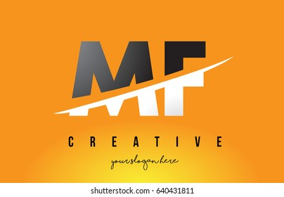 MF M F Letter Modern Logo Design with Swoosh Cutting the Middle Letters and Yellow Background.