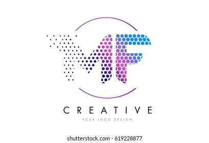 MF M F Pink Magenta Dotted Bubble Letter Logo Design. Dots Lettering Vector Illustration