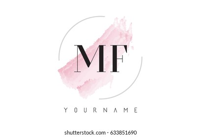 MF M F Watercolor Letter Logo Design with Circular Shape and Pastel Pink Brush.