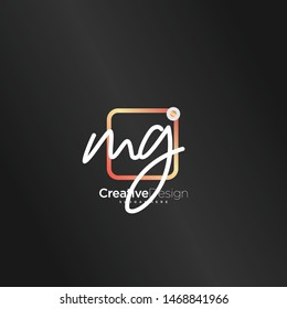 MG initial handwriting with color logo icon template vector.