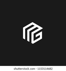 Mg logo with letter M and G in vector format.