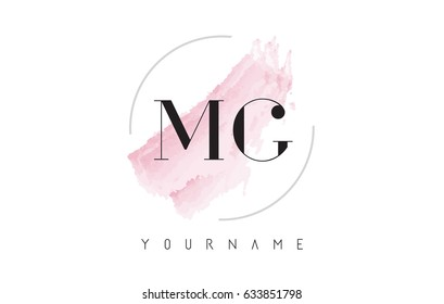 MG M G Watercolor Letter Logo Design with Circular Shape and Pastel Pink Brush.