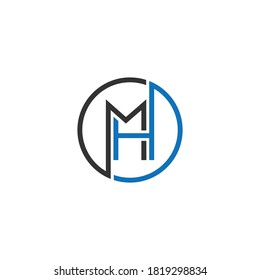MH or HM abstract outstanding professional business awesome artistic branding company different colors illustration logo