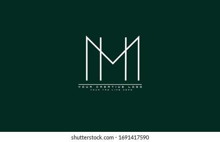 MH HM abstract vector logo monogram template